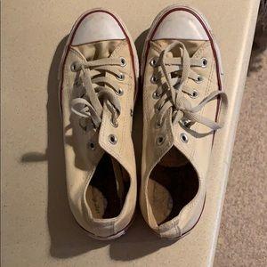 Cream Converse low tops